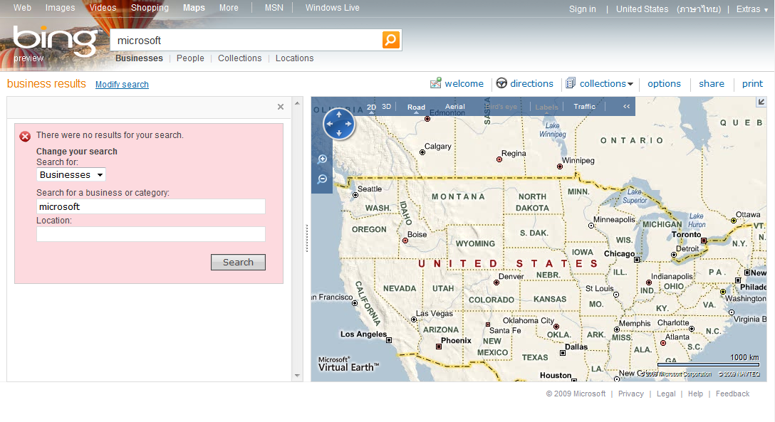 Map Search Result from Bing (US)