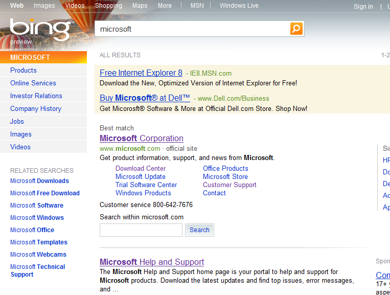 Search Result from Bing (US)