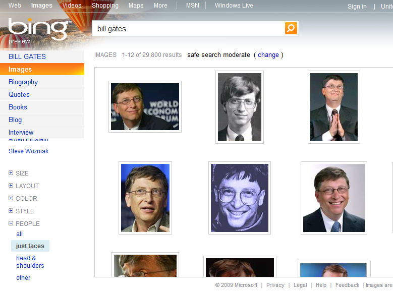 People Images Search Result from Bing (US)