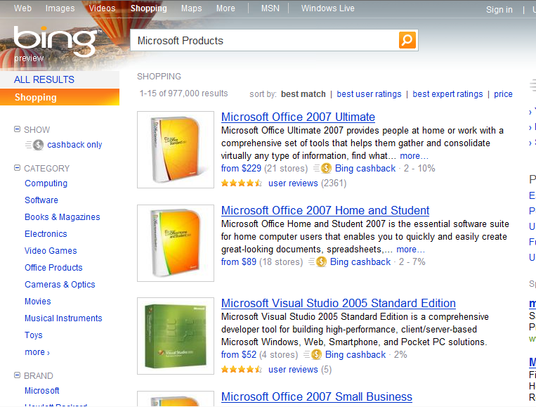 Shopping Search Result from Bing (US)