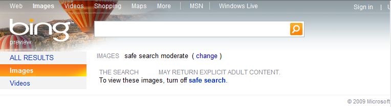 Testing Safe Search Feature